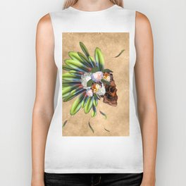 Awesome skull with feathers Biker Tank