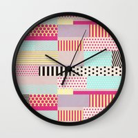 tape Wall Clocks featuring Decorative Tape by Louise Machado
