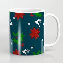 Christmas pattern,mistletoe,poinsettia flower ,reindeer,decor. Coffee Mug