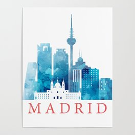 Colorful Madrid skyline Poster