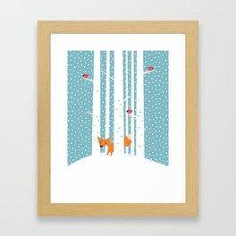 Fox in snow Framed Art Print
