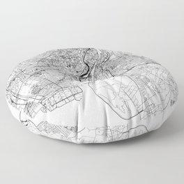Copenhagen White Map Floor Pillow