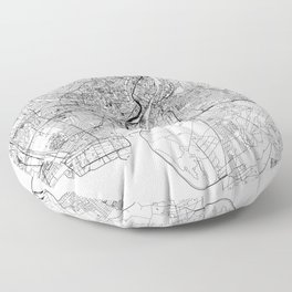 Copenhagen White Map Floor Pillow
