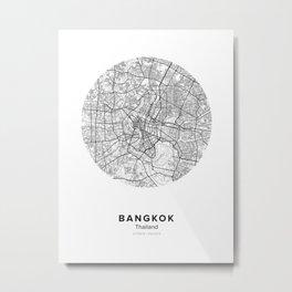 Bangkok Circle Map Metal Print