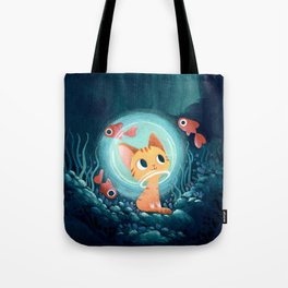 Ginger cat and fishes Tote Bag