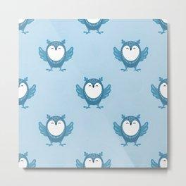 Blue Christmas Snowy Owls Seamless Pattern Metal Print