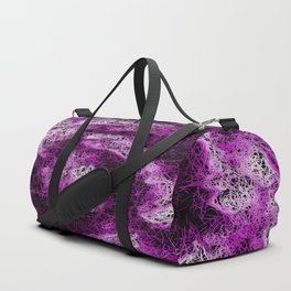 psychedelic geometric painting abstract in pink purple white and black Duffle Bag