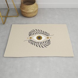 Mid Century Magic Minimalist Trendy Mystical Eye Plant Leaves Neutral Tones Bohemian Symbol Astrological Style Rug