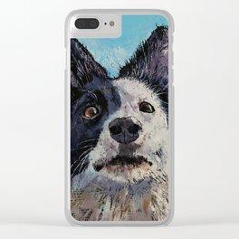 Border Collie Portrait Clear iPhone Case