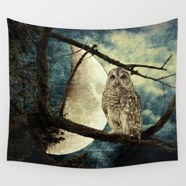 Barred Owl Bird Night Moon Blue Tans Country Art A137 Wall Tapestry