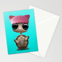 Cute Baby Turtle Wearing Pussy Hat Stationery Cards