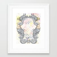 angels Framed Art Prints featuring Angels by FakeFred