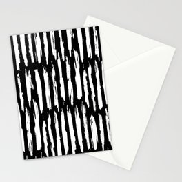 Vertical Dash White on Black Paint Stripes Stationery Cards
