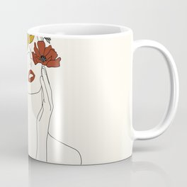 Colorful Thoughts Minimal Line Art Woman with Flowers Coffee Mug
