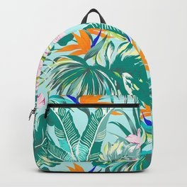 Bird of Paradise Hawaii Rainforest Tropical Leaves Pastels Backpack