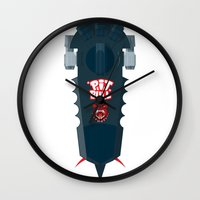 pitbull Wall Clocks featuring Pitbull Hoverboard by Staermose
