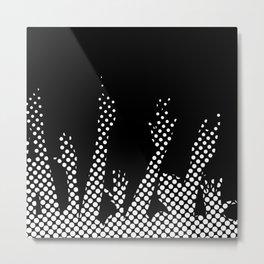 Halftone Raised Hands Metal Print
