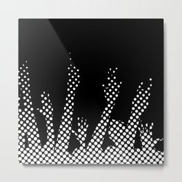 Halftone Raised Hands Metal Print