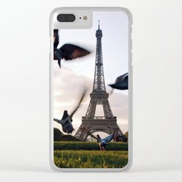 Paris Eiffel tower and flight of birds Clear iPhone Case