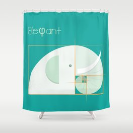 Golden ratio elephant Shower Curtain