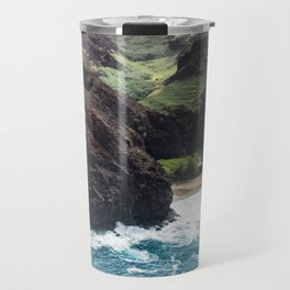 Dramatic Tropical Beach Surf Surrounded by Rugged Cliffs Travel Mug