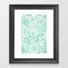 Doodle Flowers (White/Green Edition) Framed Art Print