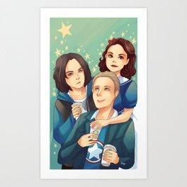 Peggy, Steve and Bucky Starbucks Art Print
