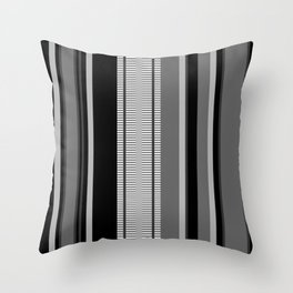 Vertical Stripes # 3 in black, gray and white Throw Pillow