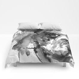 Black And White Half Faced English Bulldog Comforters