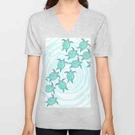 Watercolor Teal Sea Turtles on Swirly Stripes Unisex V-Neck