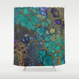Golden Space Shower Curtain