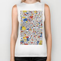 london map Biker Tanks featuring London by Mondrian Maps