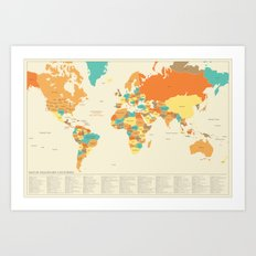 MAP OF IMAGINARY COUNTRIES Art Print