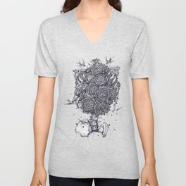 Ribs with peonies Unisex V-Neck