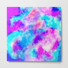 Modern hand painted neon pink teal abstract watercolor Metal Print