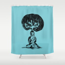 Cool Buddha - Moods of blue Shower Curtain