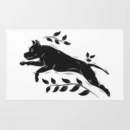 Jumping Dog With Leaves –black palette Rug