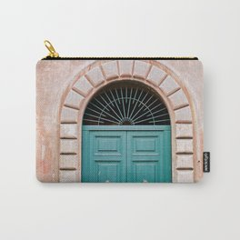 Turquoise Green door in Trastevere, Rome. Travel print Italy - film photography wall art colourful. Carry-All Pouch