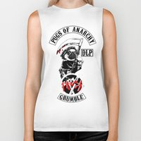 sons of anarchy Biker Tanks featuring Pugs of Anarchy by Dark Lord Pug