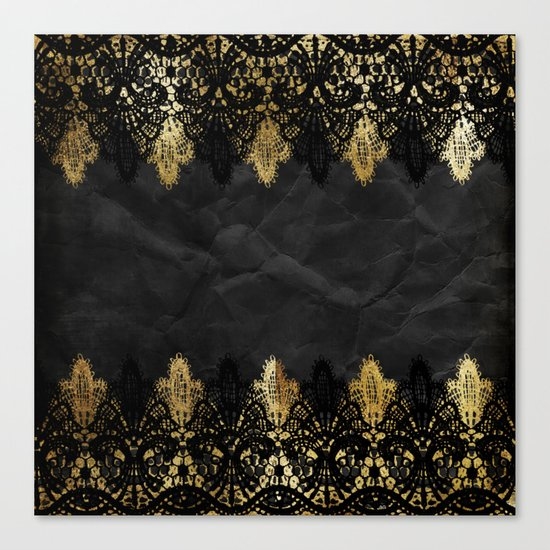Simply elegance - Gold and black ornamental lace on black paper Canvas Print