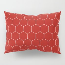 Simple Honeycomb Pattern - Red & White - Mix & Match with Simplicity of Life Pillow Sham