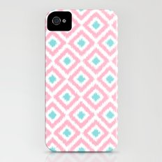 Pink and Mint Diamonds Ikat Pattern iPhone (4, 4s) Slim Case