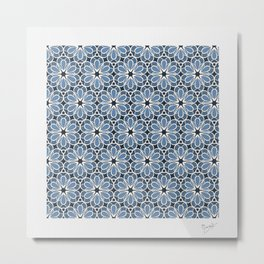 Symmetrical Flower Pattern in Blue Metal Print
