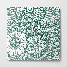 Hand drawn forest green white modern floral Metal Print