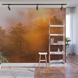 Golden Morning Glory Forest Wall Mural