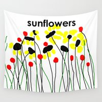 sunflowers Wall Tapestries featuring Sunflowers by Jessielee