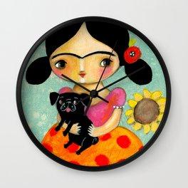 Frida with Black Pug dog by TASCHA Wall Clock