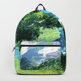 Gunnison: a vibrant acrylic mountain landscape in greens, blues, and a splash of pink Backpack