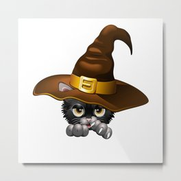 Black Kitten Cartoon With Witch Hat Metal Print