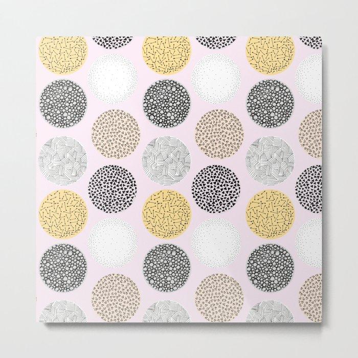 Yellow, White, Gray, Pink and Black Circle Print Metal Print